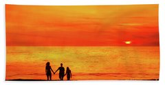 Hand Towel featuring the digital art Sunset On The Beach by Randy Steele
