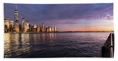Sunset On The Hudson River Bath Towel