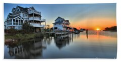 Sunset On The Obx Sound Hand Towel by Adam Jewell