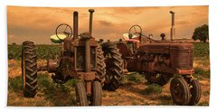 Sunset On The Tractors Bath Towel