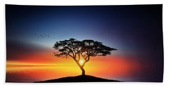 Sunset On The Tree Hand Towel by Bess Hamiti