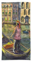 Bath Towel featuring the painting Sunset On Venice - The Gondolier by Carol Wisniewski