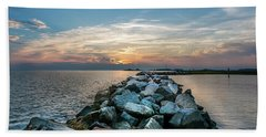 Sunset Over A Rock Jetty On The Chesapeake Bay Hand Towel