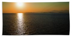 Sunset Over Aegean Sea Hand Towel