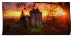 Bath Towel featuring the photograph Sunset Over Castle Campbell In Scotland by Jeremy Lavender Photography
