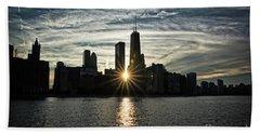 Sunset Over Chicago Skyline And Lake Michigan Hand Towel