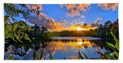 Sunset Over Hidden Lake In Jupiter Florida Bath Towel by Justin Kelefas