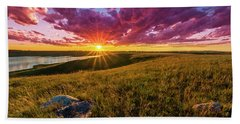 Sunset Over Lake Oahe Hand Towel