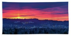 Sunset Over Marquam Hill Hand Towel