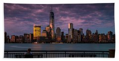 Sunset Over New World Trade Center New York City Hand Towel