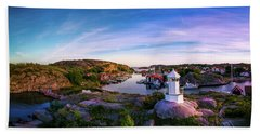 Sunset Over Old Fishing Port - Aerial Photography Bath Towel