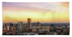Sunset Over Portland Cityscape And Mt Hood Hand Towel