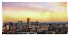 Sunset Over Portland Cityscape And Mt Hood Bath Towel