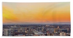 Sunset Over Portland Cityscape And Mt Saint Helens Hand Towel