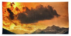 Bath Towel featuring the photograph Sunset Over The Alps by Silvia Ganora