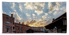 Sunset Over The Gondola Shop In Venice Hand Towel