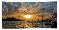 Sunset Over The Grand Canal In Venice Hand Towel by Jean Haynes