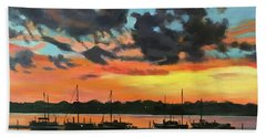Sunset Over The Marina Hand Towel