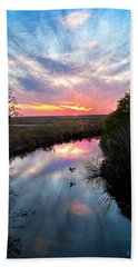 Sunset Over The Marsh Bath Towel