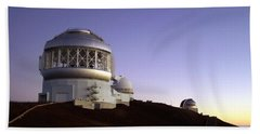 Sunset Over The Mauna Kea Observatories On Kona Hand Towel