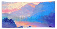 Sunset Over The Mountains Bath Towel