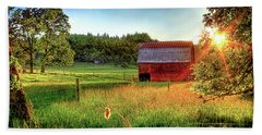 Sunset Over The Old Barn Hand Towel by Tyra OBryant