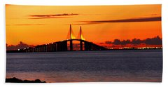 Sunset Over The Skyway Bridge Bath Towel