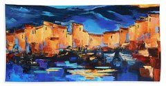Bath Towel featuring the painting Sunset Over The Village 2 By Elise Palmigiani by Elise Palmigiani