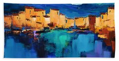 Bath Towel featuring the painting Sunset Over The Village 3 By Elise Palmigiani by Elise Palmigiani