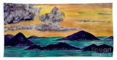 Sunset Over The Virgin Islands Hand Towel