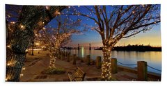 Sunset Over The Wilmington Waterfront In North Carolina, Usa Bath Towel