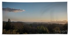Sunset Over Top Of Dense Forest Hand Towel
