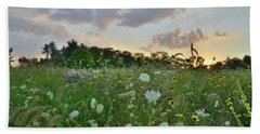 Sunset Over Wildflowers In Boone Creek Conservation Area Bath Towel