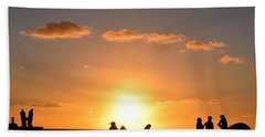 Sunset People In Imperial Beach Bath Towel