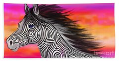 Bath Towel featuring the painting Sunset Ride Tribal Horse by Nick Gustafson