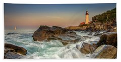 Sunset Sail At Portland Head Light Hand Towel
