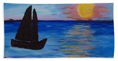 Sunset Sail Dark Hand Towel by Barbara McDevitt