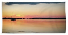 Sunset Sail On Calm Waters Bath Towel by Kelly Hazel