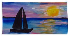 Sunset Sail Small Bath Towel