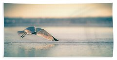 Sunset Seagull Takeoffs Bath Towel