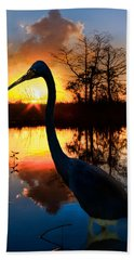 Sunset Silhouette Hand Towel