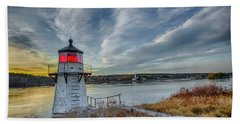 Sunset, Squirrel Point Lighthouse Bath Towel