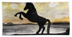 Sunset Stallion Hand Towel by Carole Robins