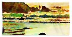 Bath Towel featuring the painting Sunset Surf by Angela Treat Lyon