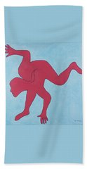Hand Towel featuring the painting Sunset Surfer by Ben Gertsberg