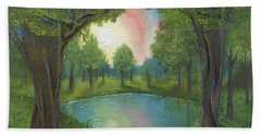 Sunset Through Trees Hand Towel by Angela Stout
