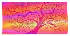 Bath Towel featuring the painting Sunset Tree Cats by Nick Gustafson