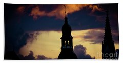 Sunset View In Old Town Riga Bath Towel