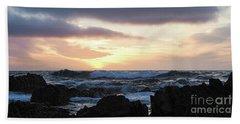 Sunset Waves, Asilomar Beach, Pacific Grove, California #30431 Bath Towel