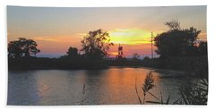 Sunset West Of Myer's Bagels Hand Towel by Felipe Adan Lerma